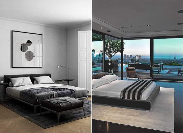 Decoração minimalista quarto preto e branco